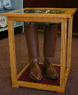 Charming Solid Wood, End Table Style Corps Boot Display Cases, With Shadowbox In Top.